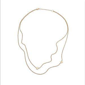 Jennifer Zeuner Double Star Gold Platted Necklace